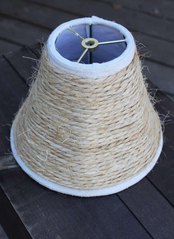 Lamp Shade Wrapped in Twine Roping