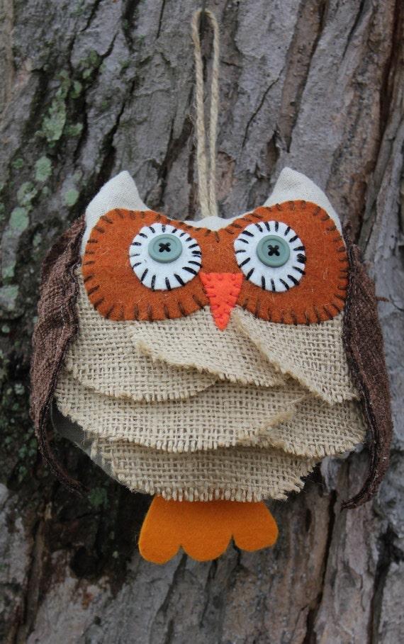 Burlap Owl Ornament Rustic Bird