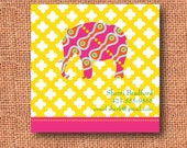 preppy pink pattern elephant calling cards, business cards, gift enclosure cards, labels, personalized or monogrammed (set of 12)