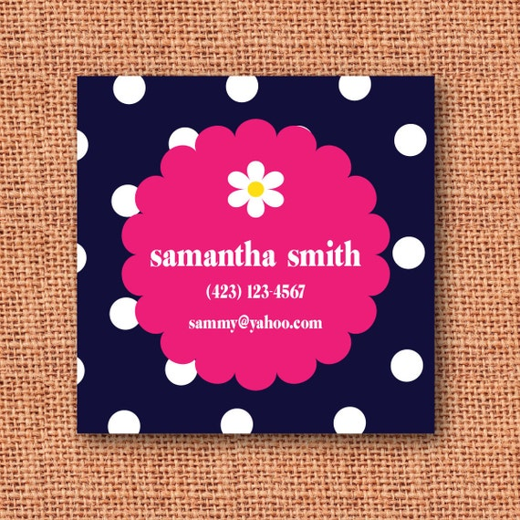 polka dot / scalloped circle / daisy personalized calling card, mommy card, enclosure card or gift tag