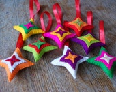 Colorful felt christmas ornaments - Set of eight stars