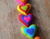 Colorful felt hearts wall hanger / door hanger