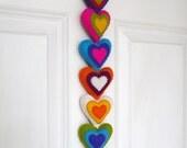 Colorful felt hearts garland (XL)