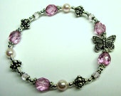 You Give Me Butterflies Pink Beaded Bracelet with Swarovski Crystals