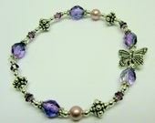 You Give Me Butterflies Amethyst Beaded Bracelet with Swarovski Crystals