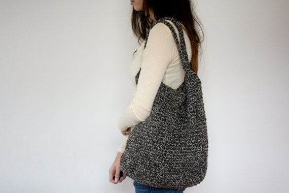 Wool tote - brown and white