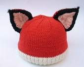 Knit fox hat with ears handmade pure wool and cotton knitted animal beanie with tufted ears