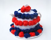 Knitted teapot cozy July fourth patriotic red white blue cosie knit and crochet rose tea cosy with matching teapot stand doily coaster