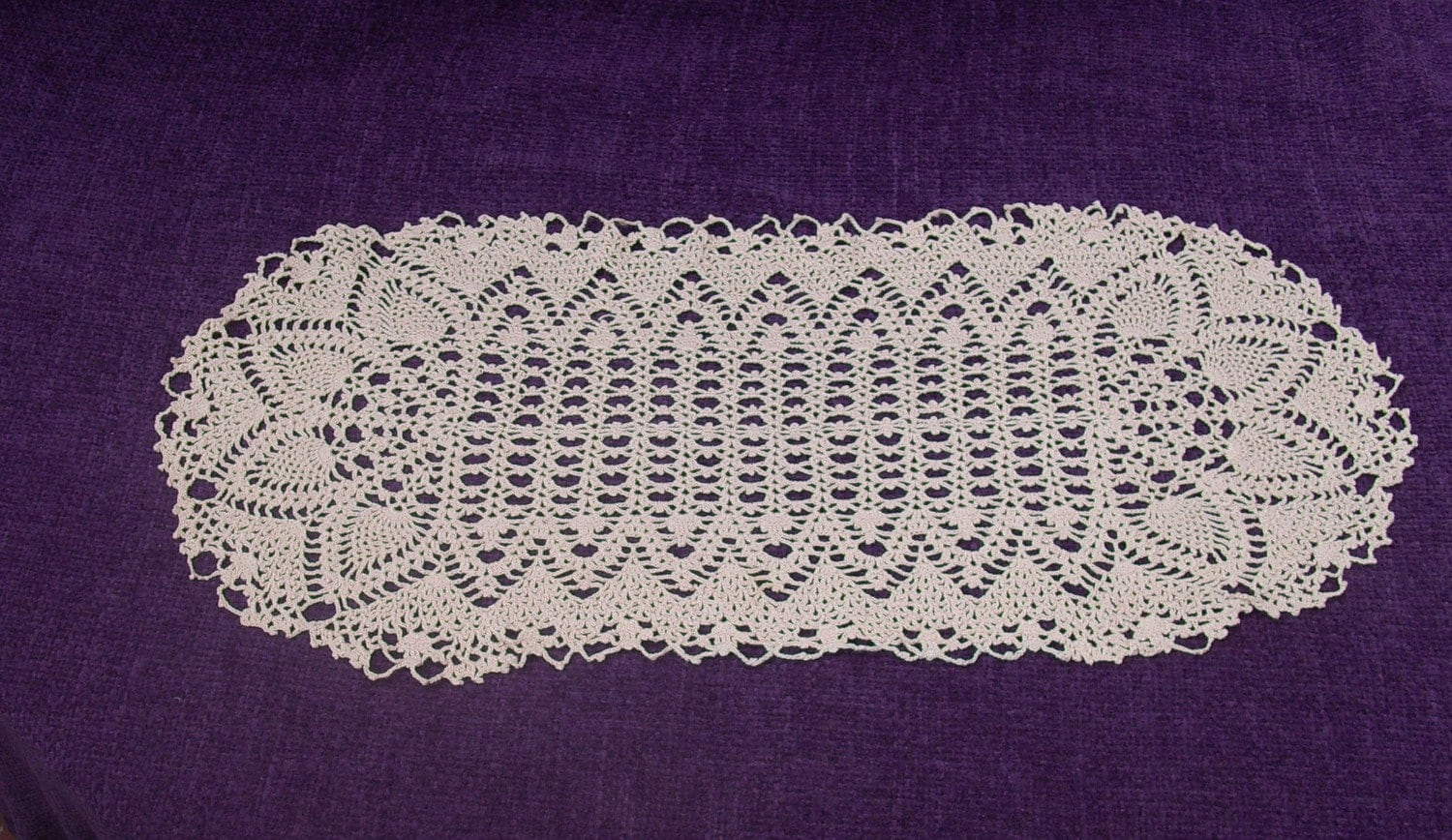Crochet doily table runner centerpiece lace doily runner ...