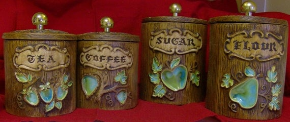 Vintage Treasure Craft Canister Set, 4, W Lids and Labels - Green Apples, Pears, Strawberries - FREE SHIP USA