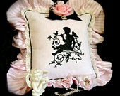 Embroidered Cupid Pillow for a Parisian Apartment