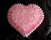 Pink Beaded and Jeweled Heart Keepsake Box with Crystals and Pearls