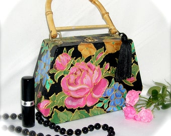Cloissonne-look Handpainted Wooden Purse with Roses