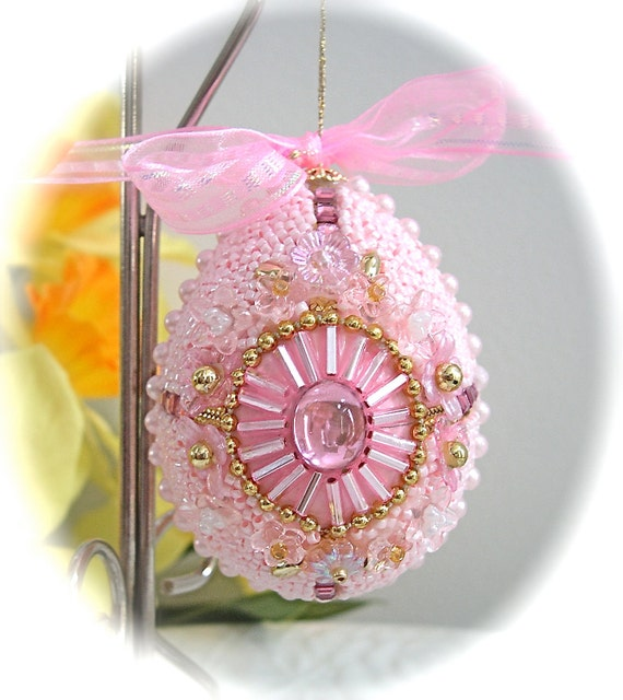 Faberge-like Beaded Egg Ornament Pastel Pink