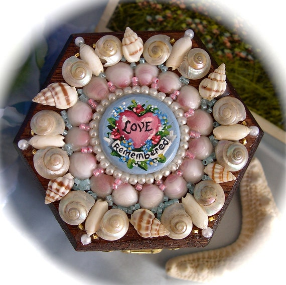 Sailor's Valentine Miniature Shell Box with hand painted center--Love Remembered