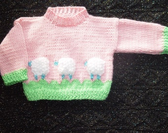 Custom order Let's count sheep baby girl sweater for 12 m  baby