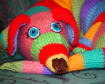 "Soft toy, child friendly - Hand knitted Dog  It's cuddle time. 34"" long"