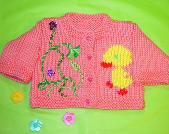 Hand Knitted  Embroidered and embellished Baby-Girl  Cardigan Newborn Reborn with Duckling