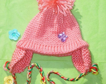 Hand Knitted   embellished Baby-Girl  Hat Newborn Reborn