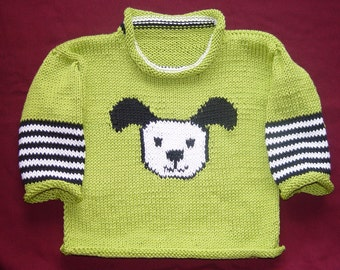 Hand-knitted Pullover with Puppy. In size for 12-18 m