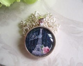 "Paris Eiffel Tower Art Under Glass - 1"" Round Glass Tile Pendant Bezel Necklace - Silver Finish - Altered Art Glass Tile Pendant"