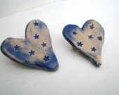 Star heart brooch / pin / button / badge. Ceramic. Made in Wales, UK
