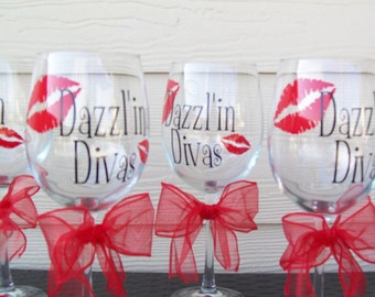 Personalized Wedding Party or Bachelorette Wine Glass