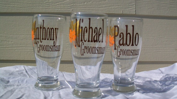 Fall in Love Autumn Personalized Pilsner Glasses