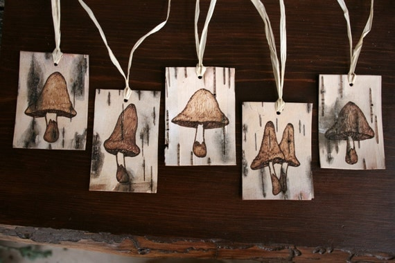 Rustic Birch Tags - Mushroom - Set of 5