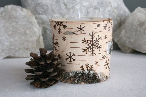 Snowflakes on Birch -  Wooden Tealight Holders - Woodburning