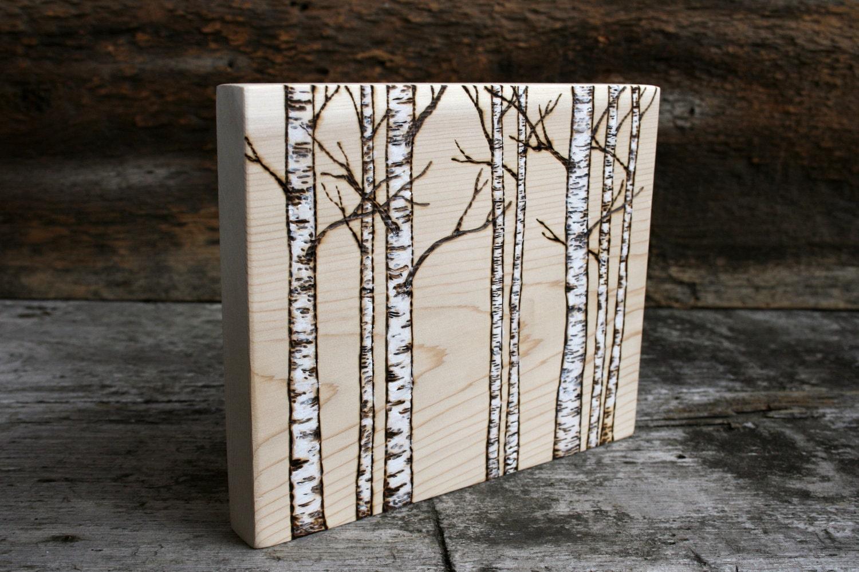 White birch trees woodland art block woodburning on