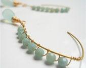 Hand Woven Chalcedony Dangle Earrings, Aquamarine Swarovski . Jewellery . March Birthstone
