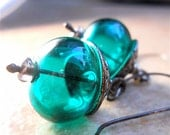 Deep Green Teal  Lampwork Glass Hollow Orb Earrings, Oxidized Sterling Silver, Intense  Color Fashion Accessory, Your Daily Jewels