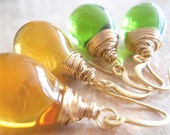 Smooth Glass, Wire Wrapped,  Drop Earrings, Saffron Yellow, or Apple Green, Simple Fashion Accessory