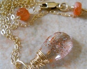 Arizona Sunstone Necklace, Wire Wrapped Pendant with Inclusions. Womens Fashion