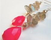 Labradorite and Pink Chalcedony Gemstone Dangle Earrings