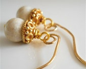 Ivory Fossil Stone Small Earrings with Gold Vermeil on  14k Gold Filled Ear Wires