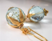 Aqua  Blue Round Quartz Earrings, Gold Vermeil Leafy Caps,  Elegant  Earthy Womens Fashion Jewelry, Bali Boho