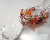 Purple, Pink, Orange Amethyst Gemstone Crystal Necklace, Pink Sapphire, Carnelian, Fashion Accessory