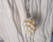 Faux Pearl Cluster Necklace,  Perfect for a Bride, Flower Girl, Bridesmaids, Bridal Wedding Fashion Jewelry