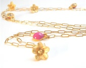 Exotic Gold Charm Necklace Pink Enamel,  Vermeil Flowers, Tiny Mirrors . DOUBLE LENGTH