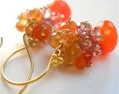 Gemstone Earrings of Carnelian, Pink Sapphires and Amethyst. Colorbursting Sri Lankan Padparadscha, Womens Fashion Accessory