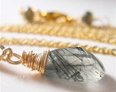 Green Rutilated Quartz Gold Wire Wrapped Gemstone Necklace, READY to SHIP Tourmalinated, Labradorite Clasp, Earthy Fashion Accessory