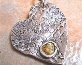 Handmade Rough Heart Silver Heart Gemstone Necklace. Customized for You