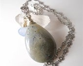 Blue Purple Wire Wrapped Labradorite Gemstone, Necklace Periwinkle Chalcedony Pendant, Matte Silver Chain, Statement Jewelry