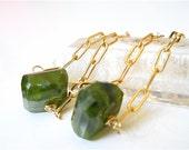 Deep Moss Green Vesuvianite Chunk Gemstone Chain Earrings, Emerald Green, May Birthstone,