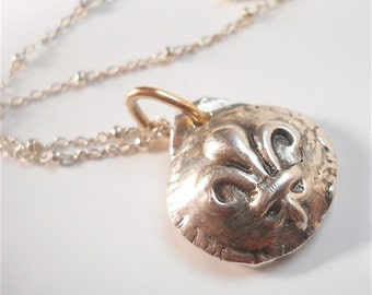 Handmade Silver Fleur de Lis Necklace . Turn of the Century Relic . Mixed Metal Accents -  Wax Seal Jewellery