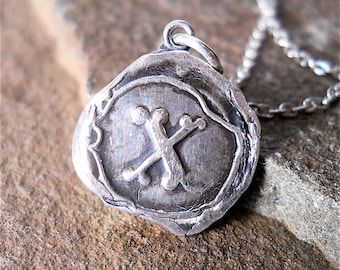X- Marks the Spot, Silver  Antique Wax Seal Necklace, Silver Initial, Eco Friendly, Pirate Coin Cob Jewelry, Goth, Biker Accessory