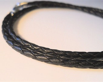 Men's Accessory, Black or Brown  3 mm Leather Braided Necklace, Rocker, Biker, Fashion Accessory