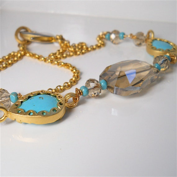 Turkish Turquoise Gemstone  Choker, Necklace with Champagne Quartz  in Matte Gold